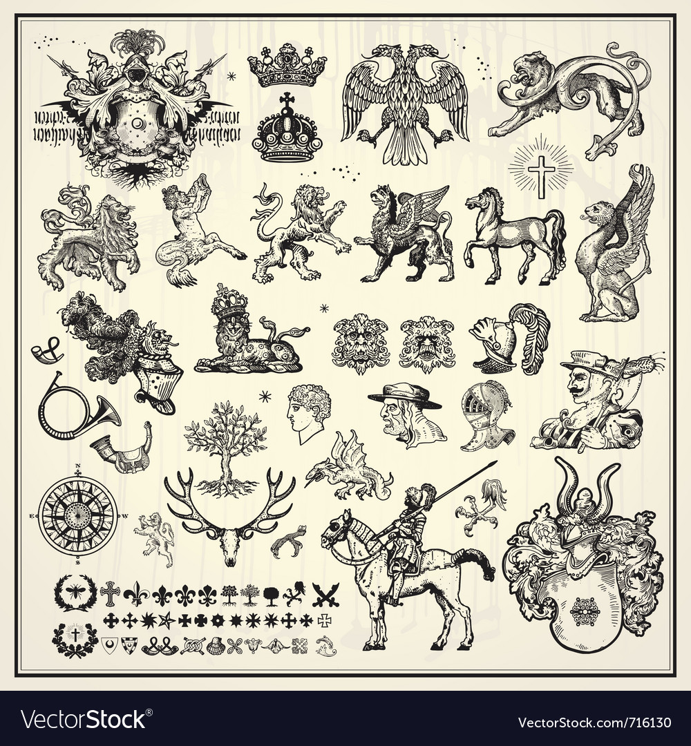 Heraldic elements collection vector