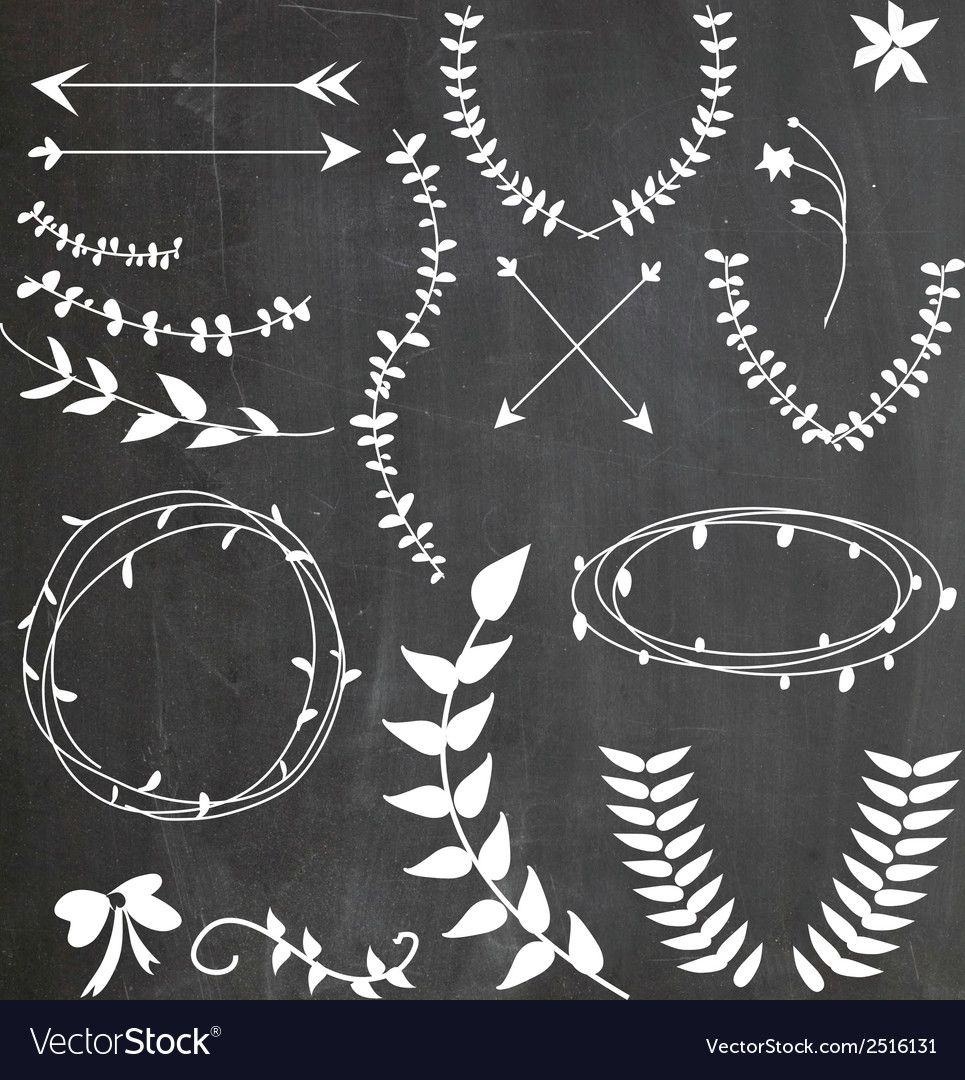 Chalkboard wreaths arrows assortment vector