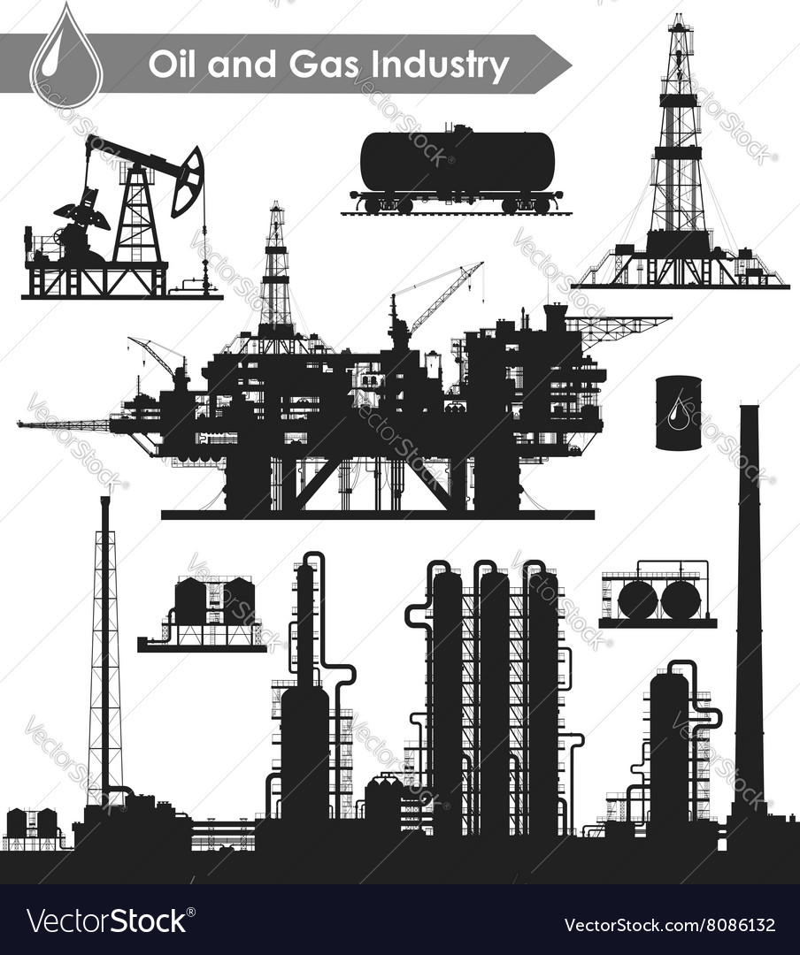 Oil industry set vector