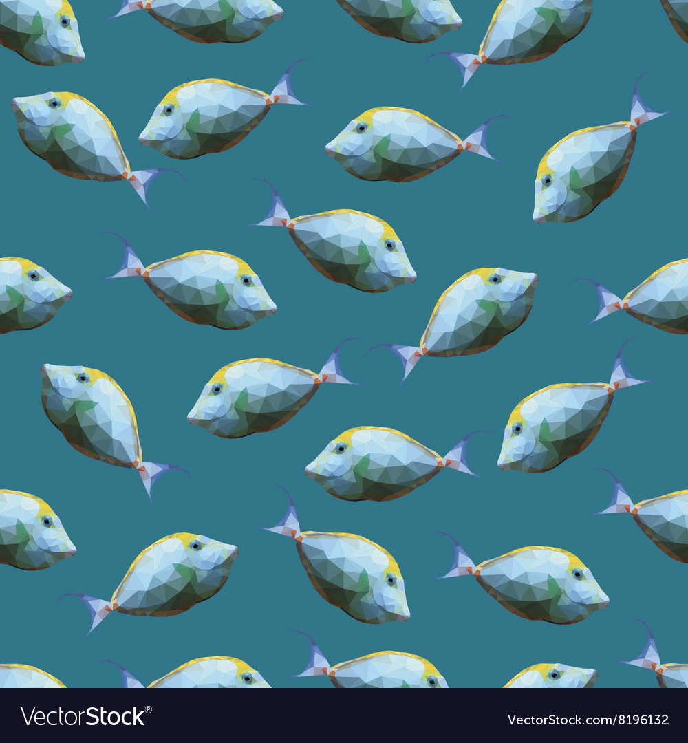 Seamless pattern with polygonal unicornfishes vector