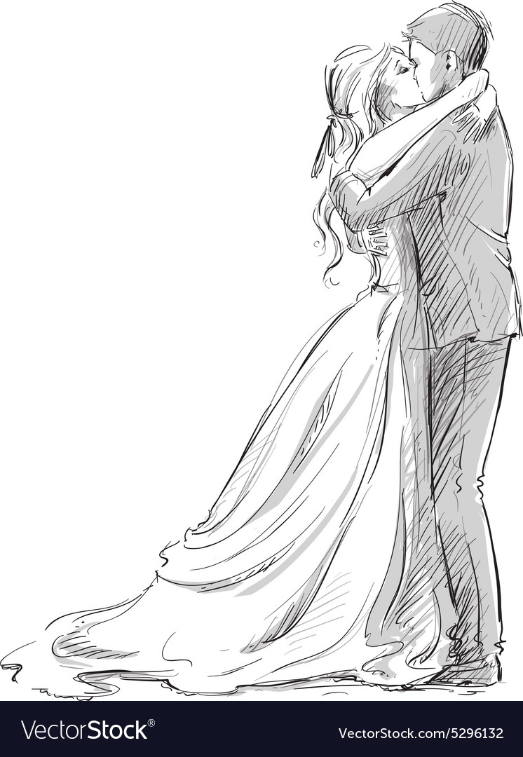Wedding couple kiss vector