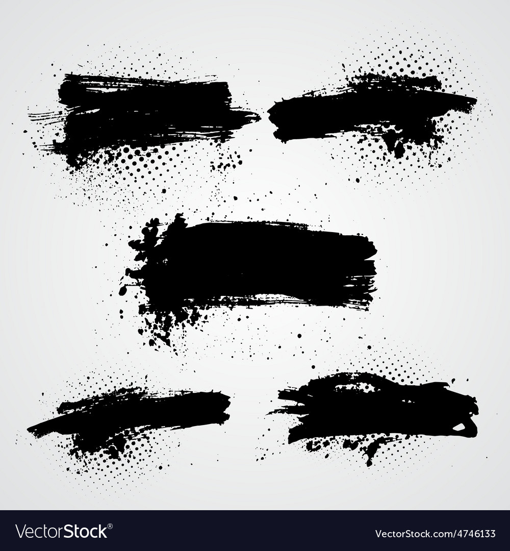 Set of black grunge splash banners can be vector