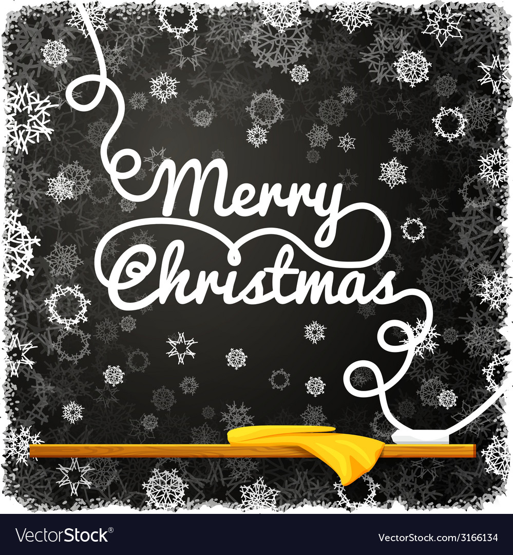 Merry christmas message written on the black vector