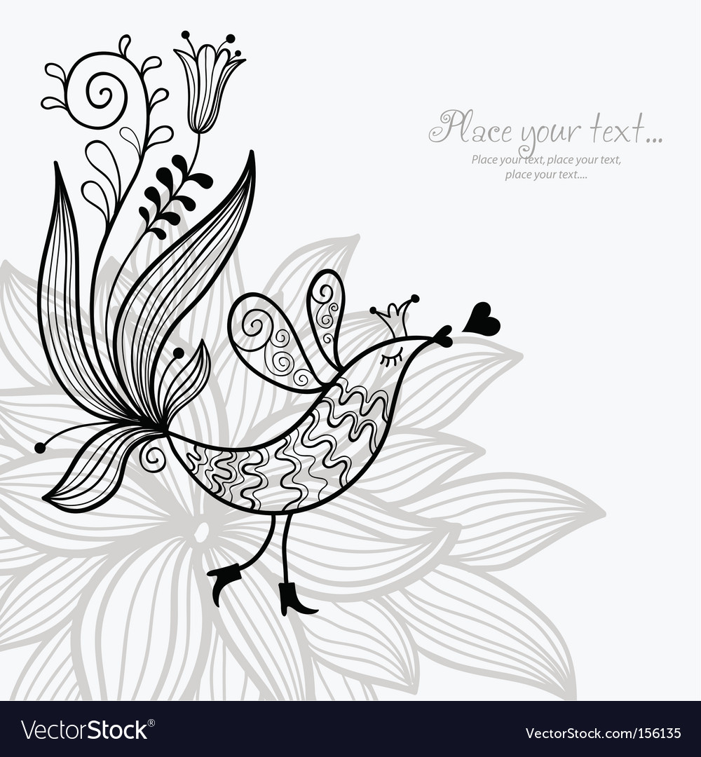 Bird on floral background vector