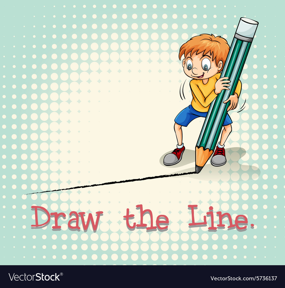 Boy drawing a line vector
