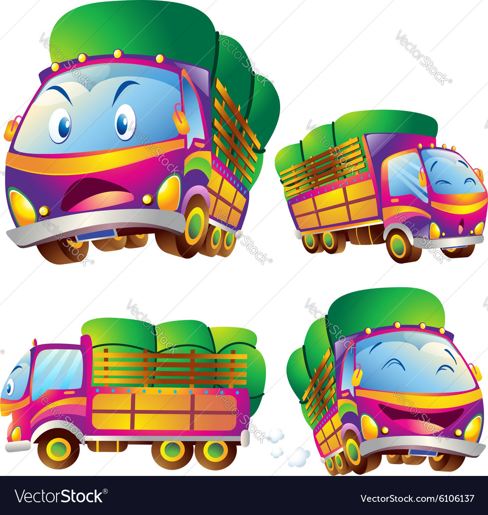 Cute truck cartoon actions vector