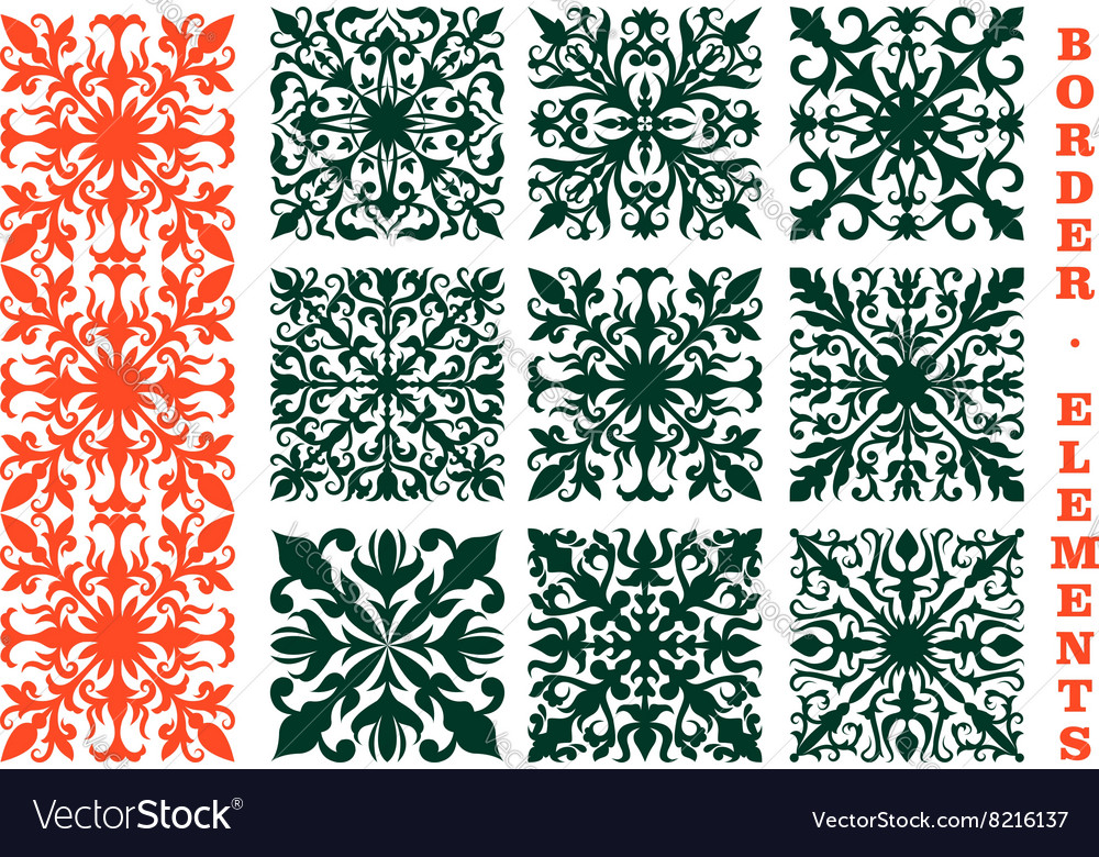 Vintage borders with floral ornament vector