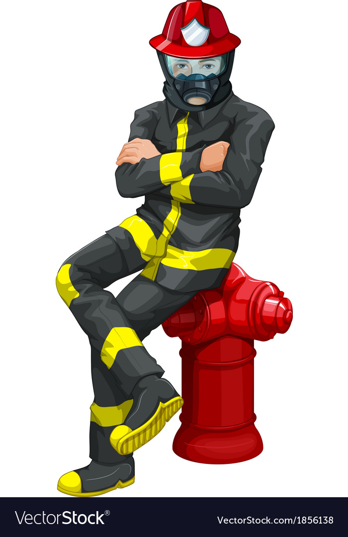 A fireman sitting above the hydrant vector