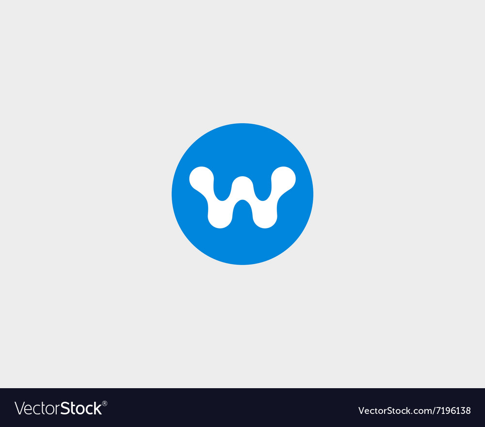 Abstract letter w logo design template round vector