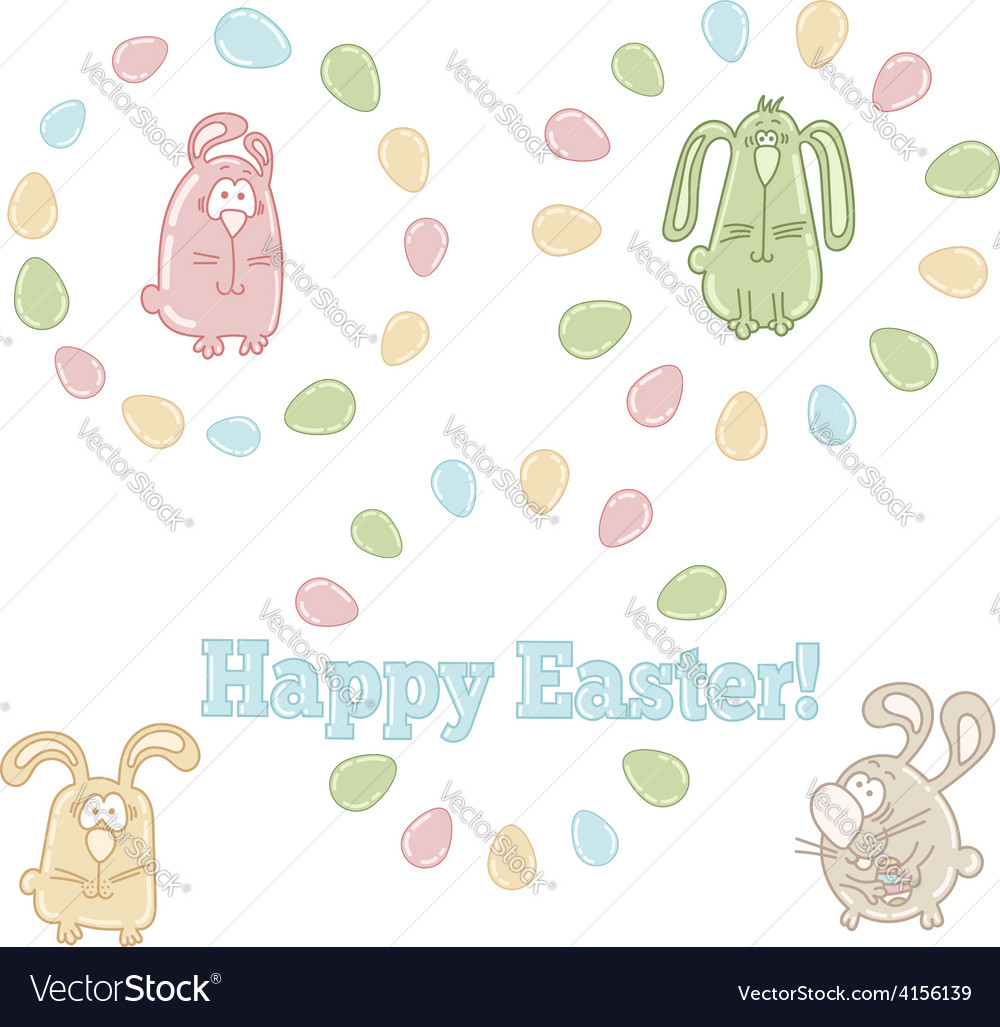 Set of easter symbols  easter eggs and bunnies vector