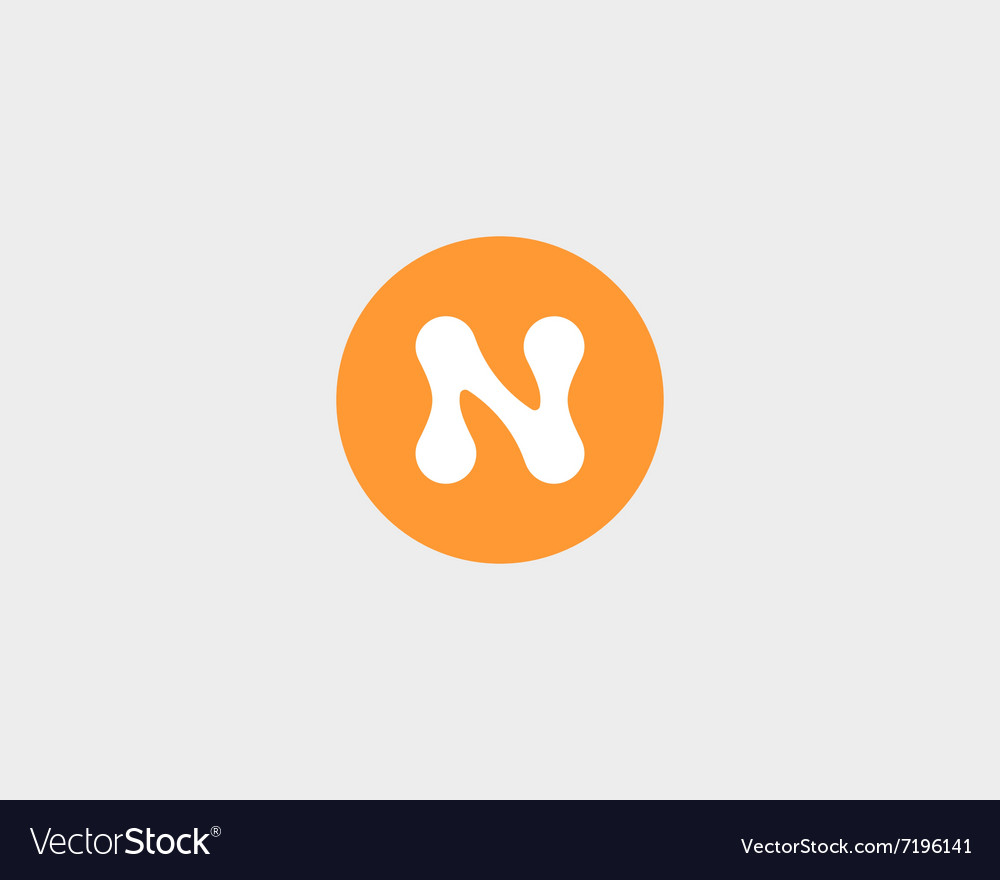 Abstract letter n logo design template round vector