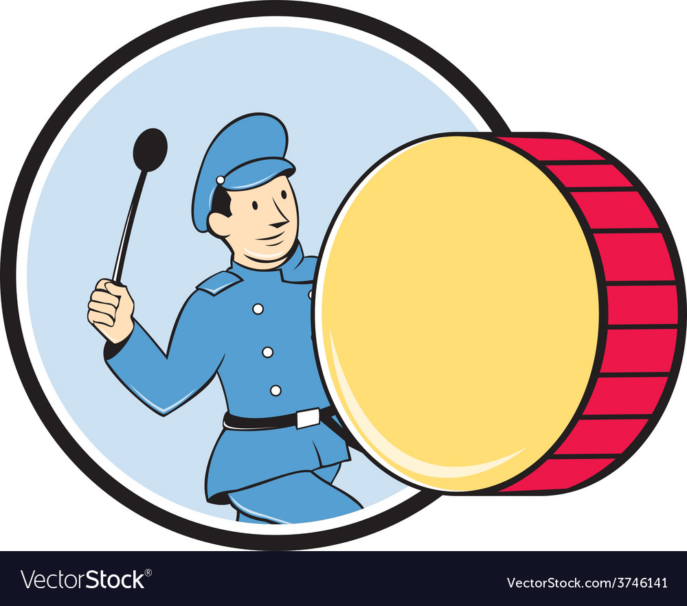 Brass drum marching band drummer circle vector