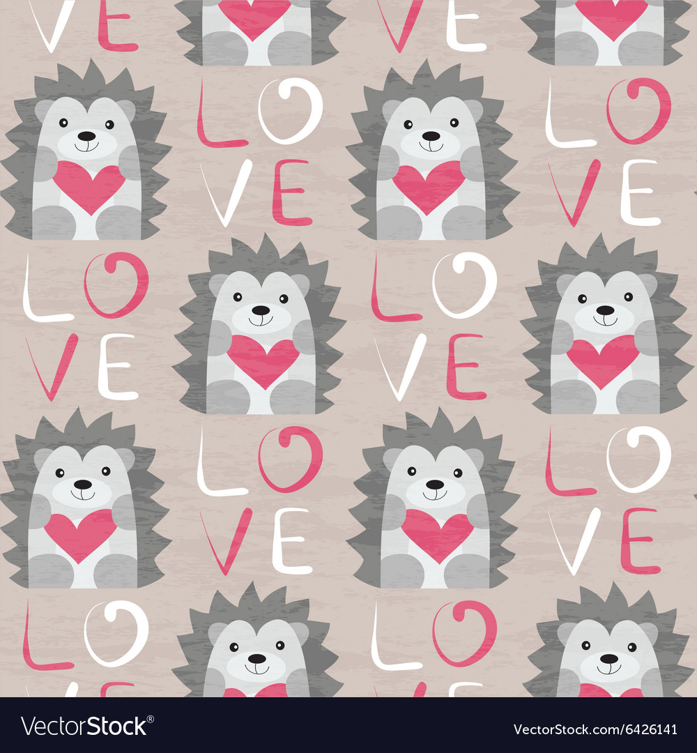 Hedgehog with heart seamless pattern vector
