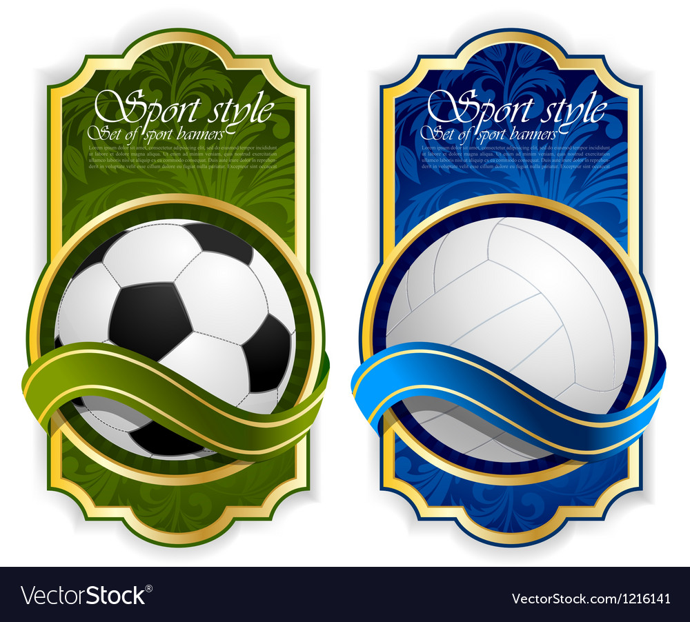 Sport label with balls vector