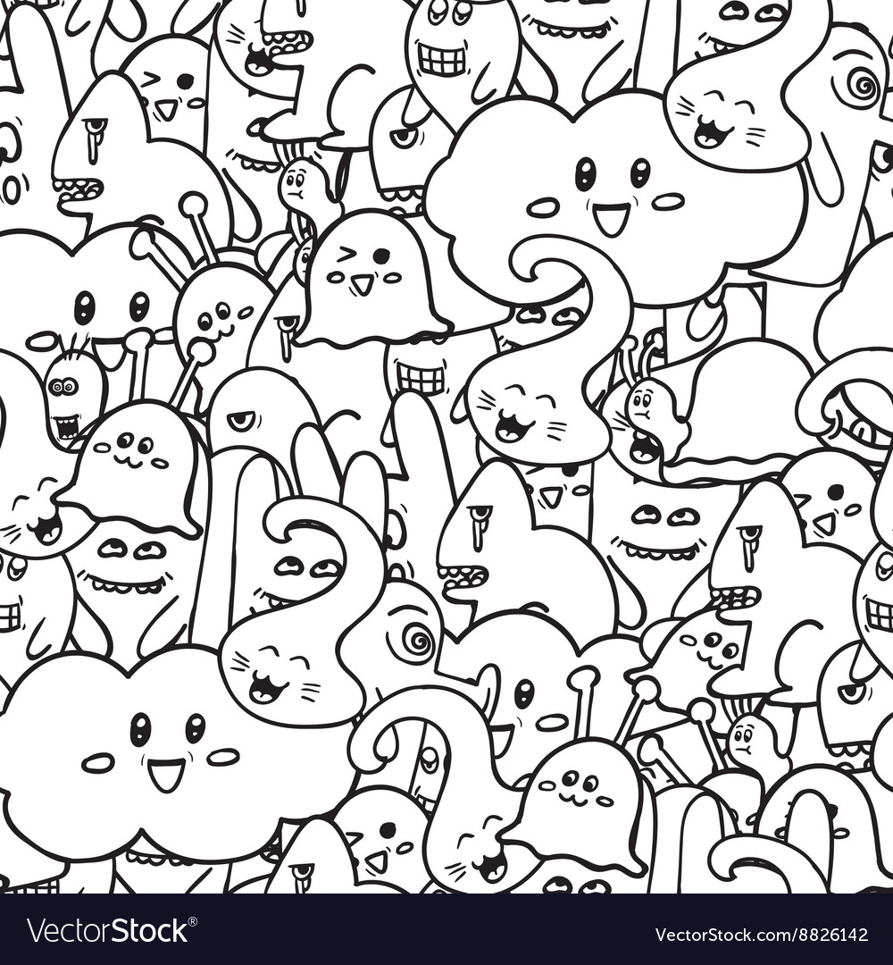 Doodle seamless pattern with monsters vector