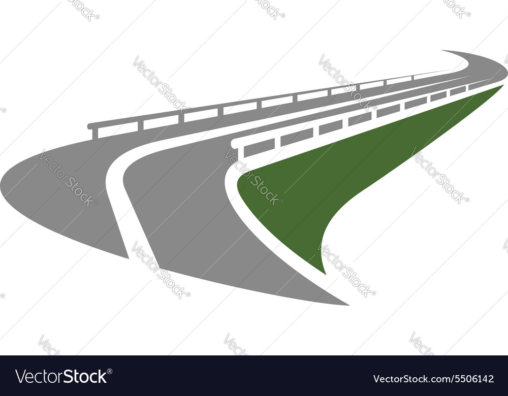 Road with guardrails passing on the edge of slope vector