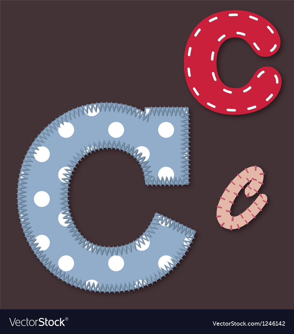 Set of stitched font  letter c vector