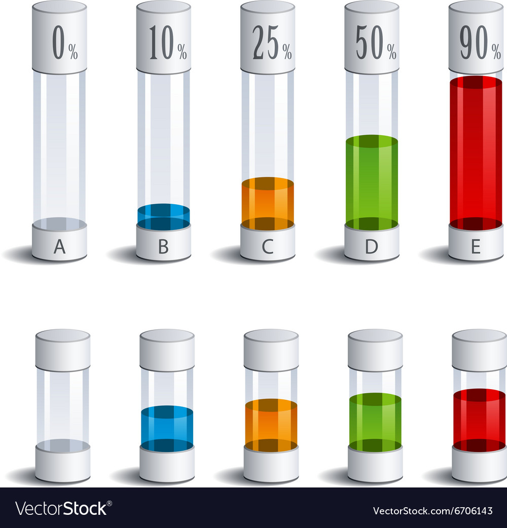 3d glass tubes percent infographic vector