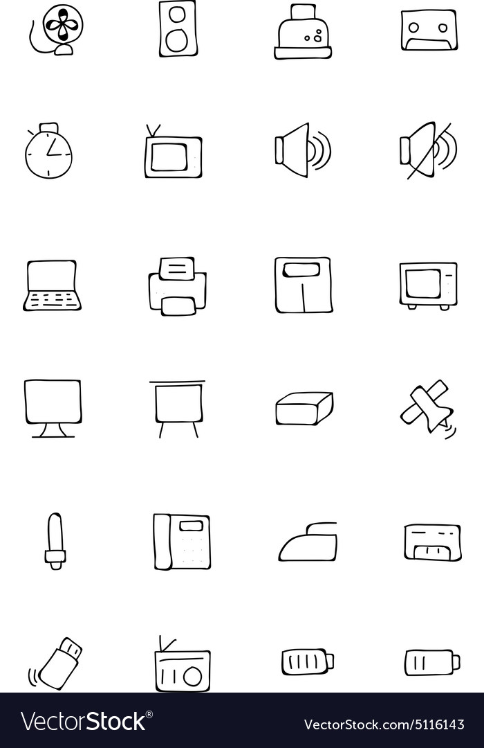 Electronics hand drawn doodle icons 2 vector