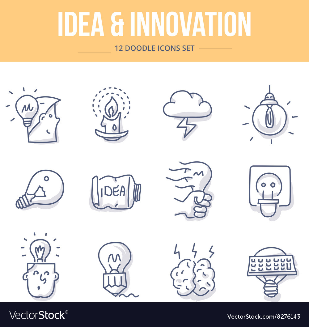 Idea innovation doodle icons vector