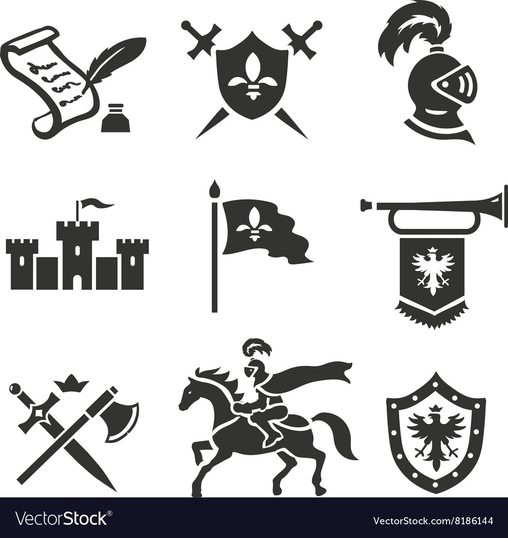 Knight medieval history icons set middle vector