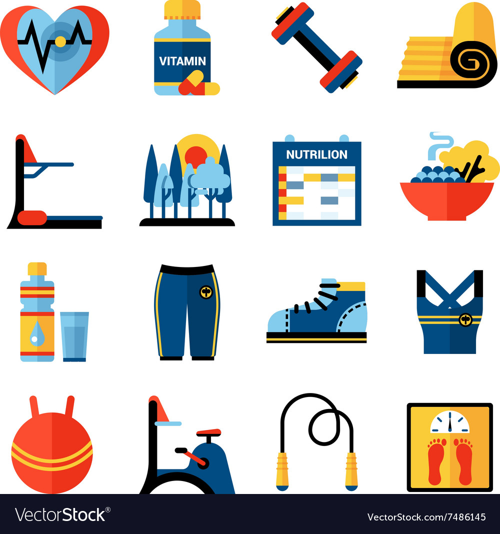 Fitness flat color icons set vector