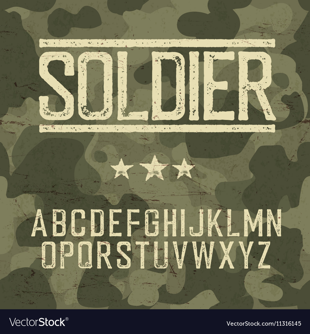 Soldier alphabet military deisgn set army design vector
