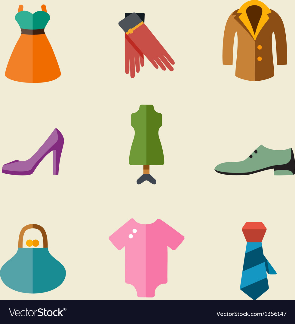 Fashion color icon set vector