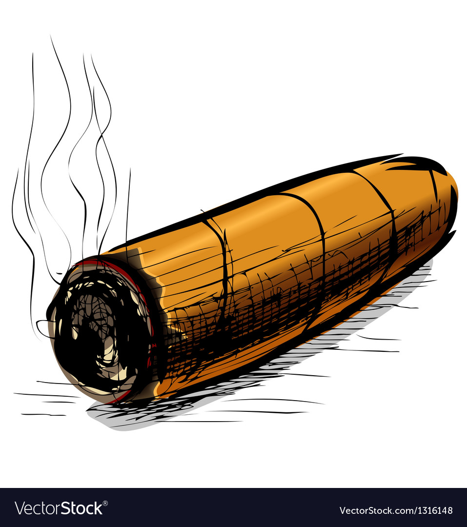 Lighting cigar sketch vector