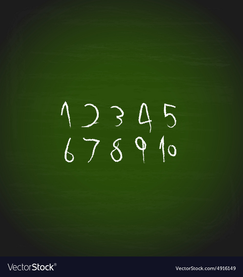 Chalk hand drawing numbers design vector