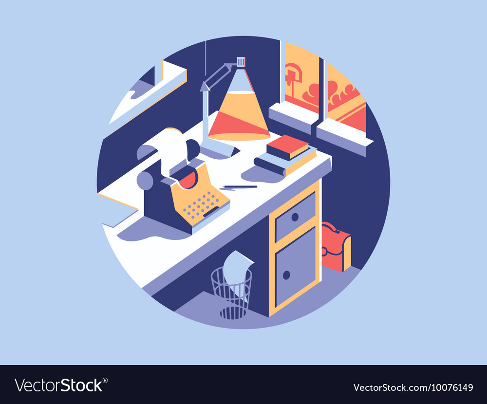 Writing space flat vector