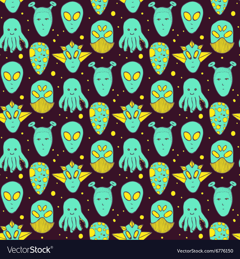 Sketch aliens faces pattern vector