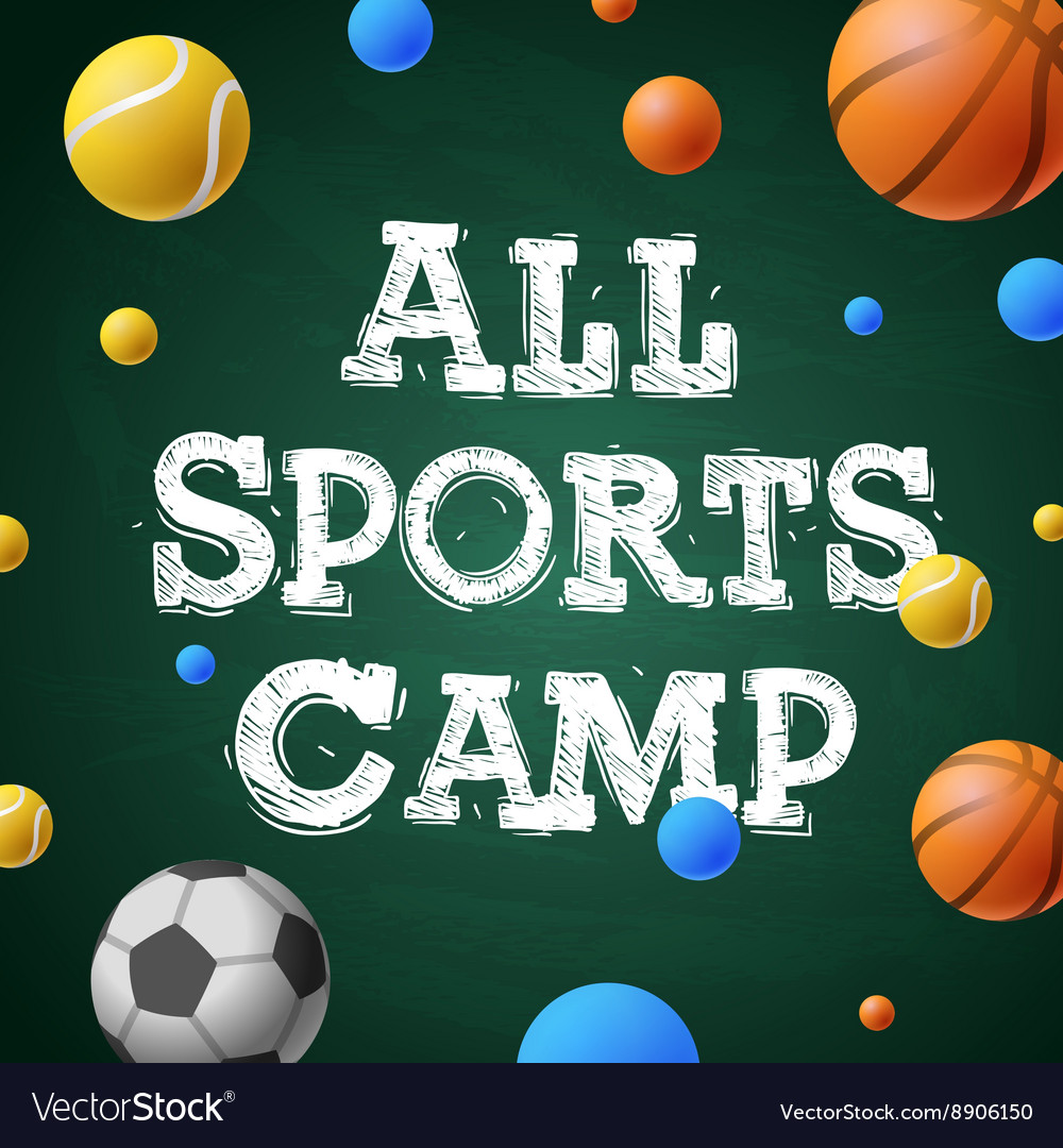 Sports summer training camp themed poster vector