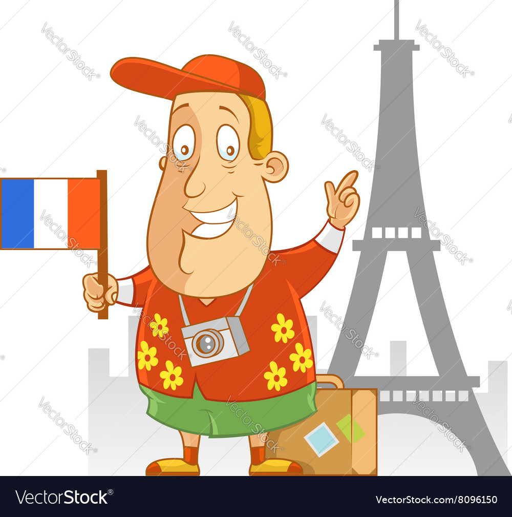 Tourist travel france vector