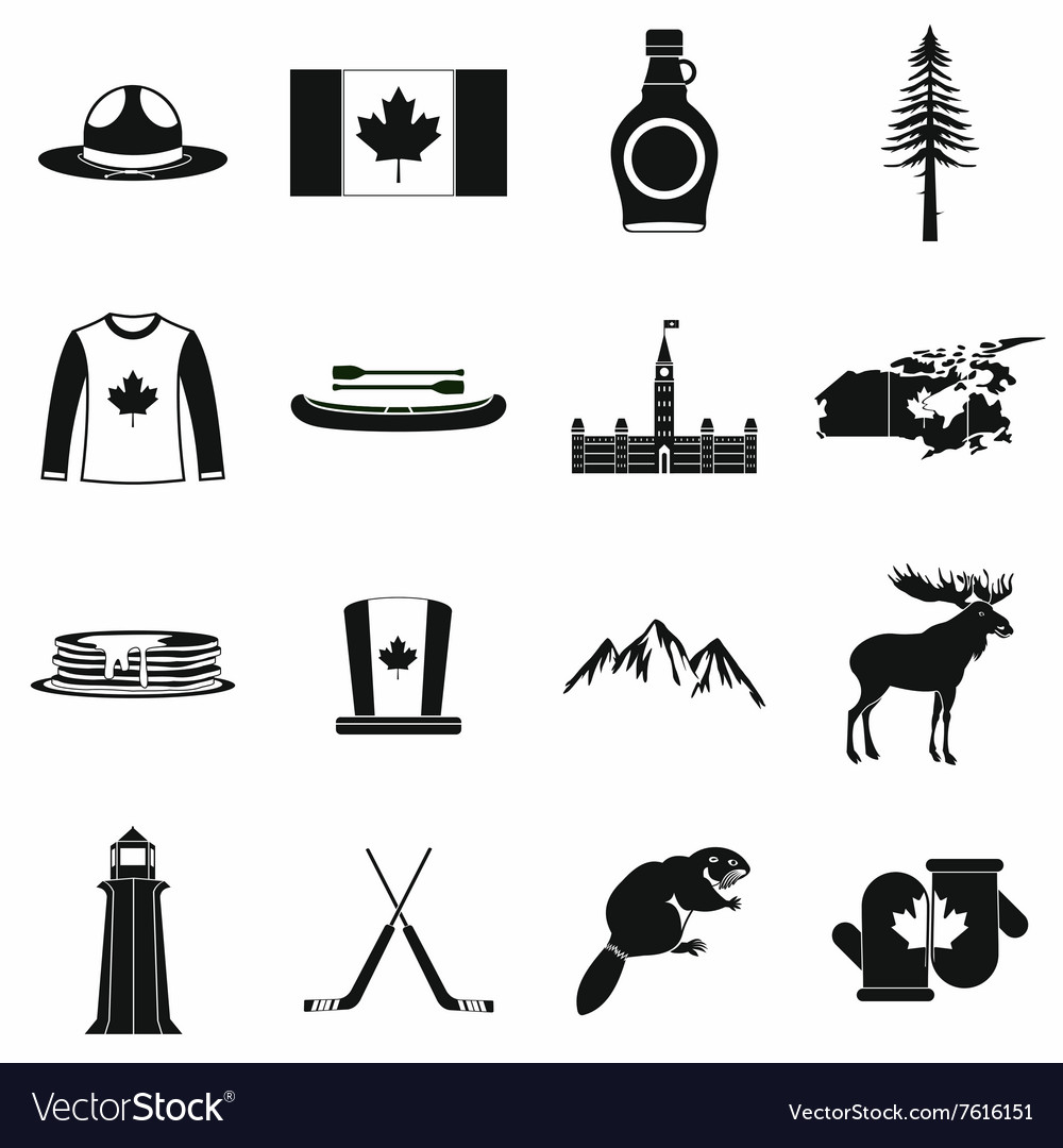 Canada icons black vector