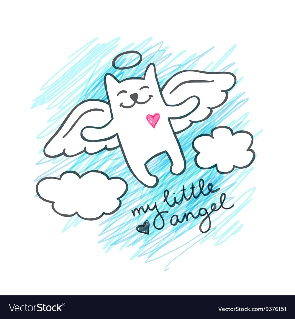 Hand drawn cat angel vector