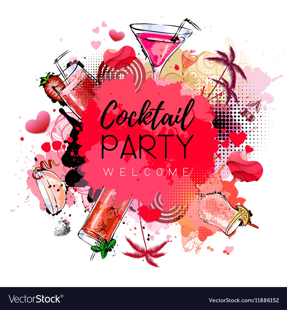 Cocktail party poster design cocktail menu vector