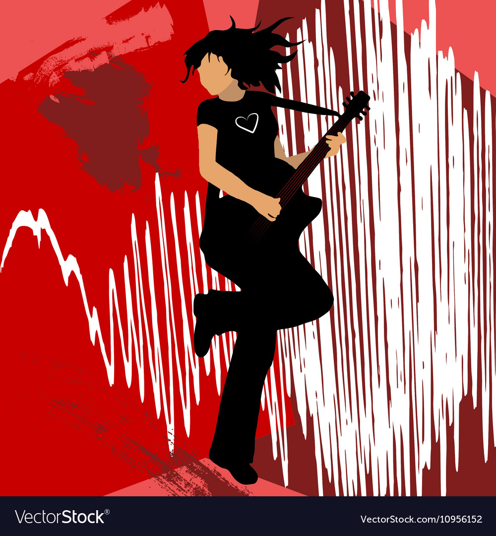 Girl playing bass guitar vector