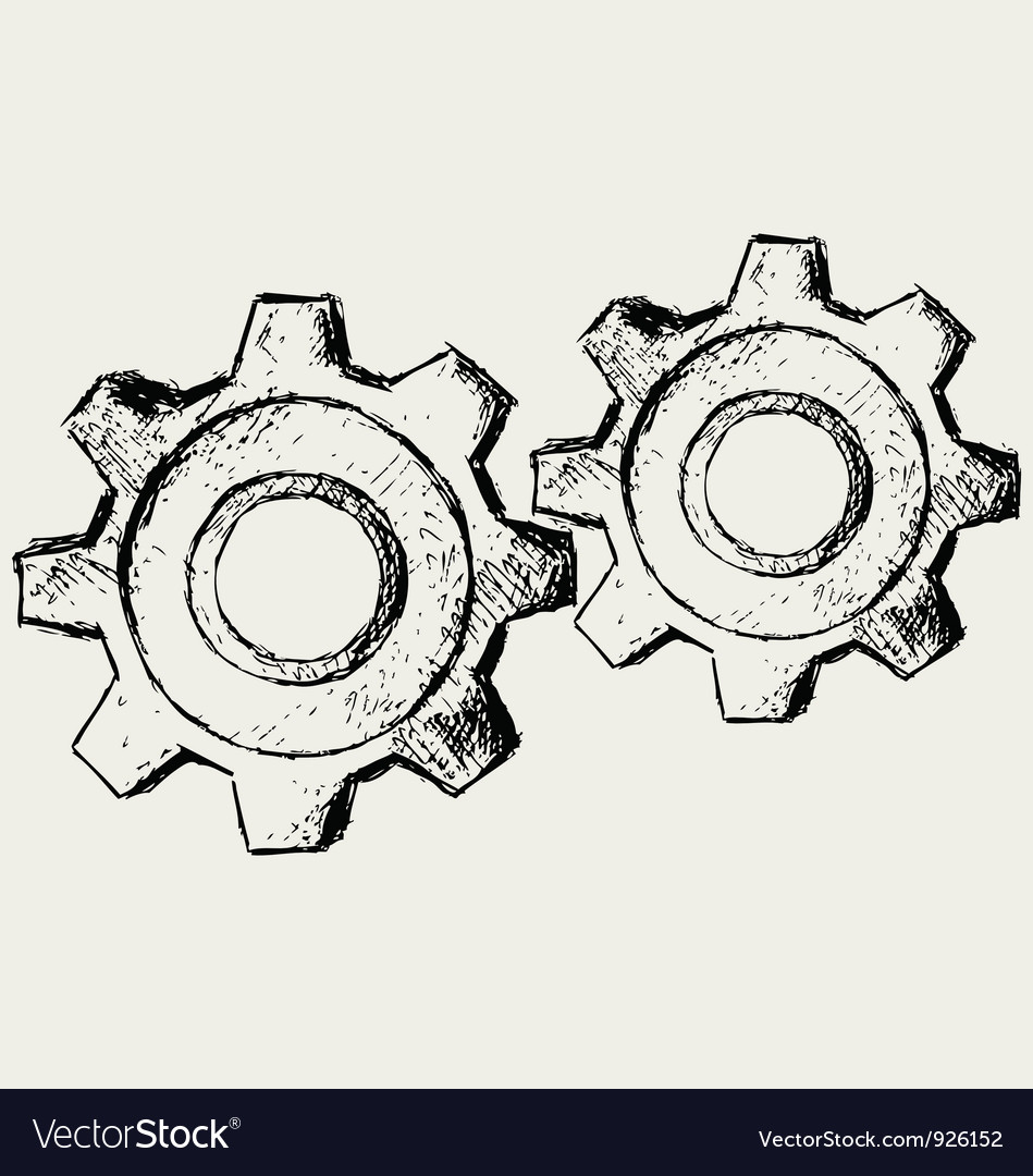 Handwritten gears vector