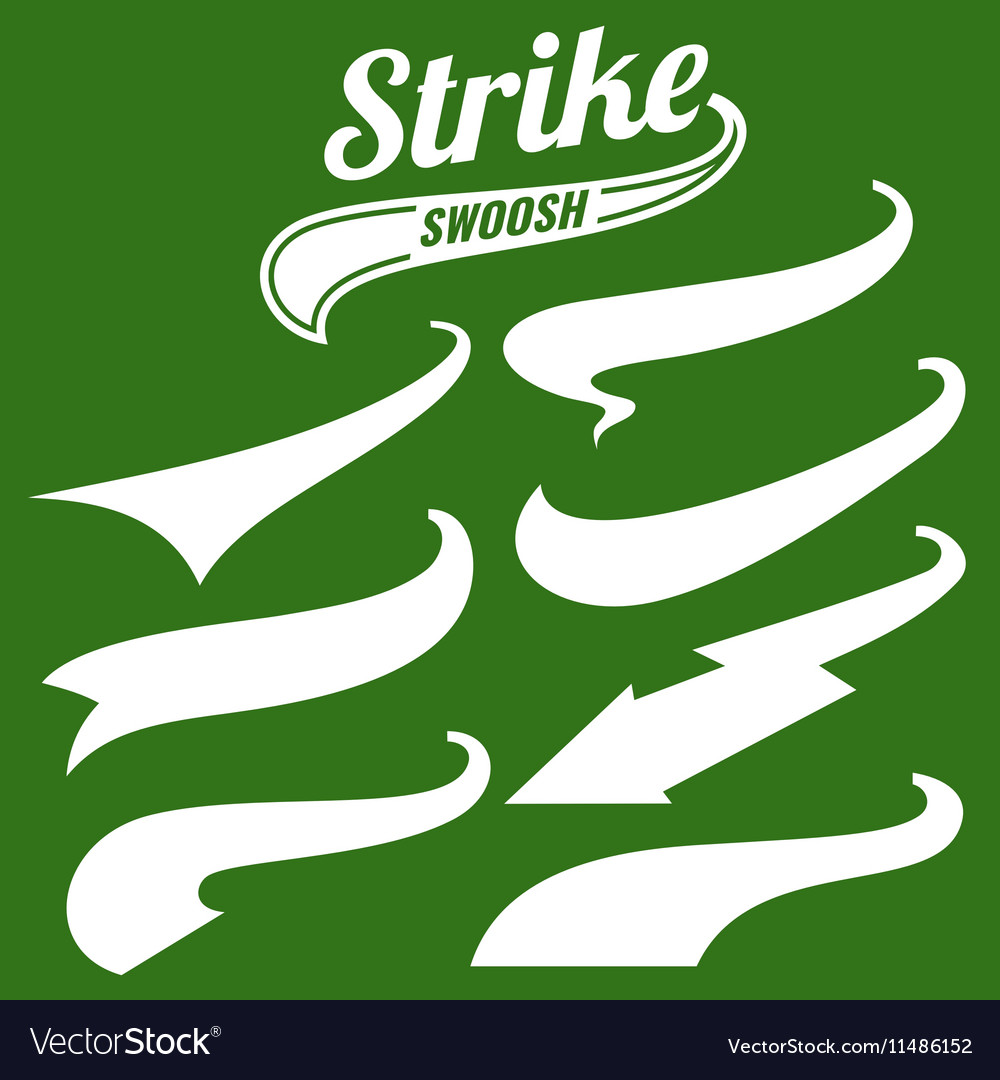 Retro swishes baseball swash tails vector