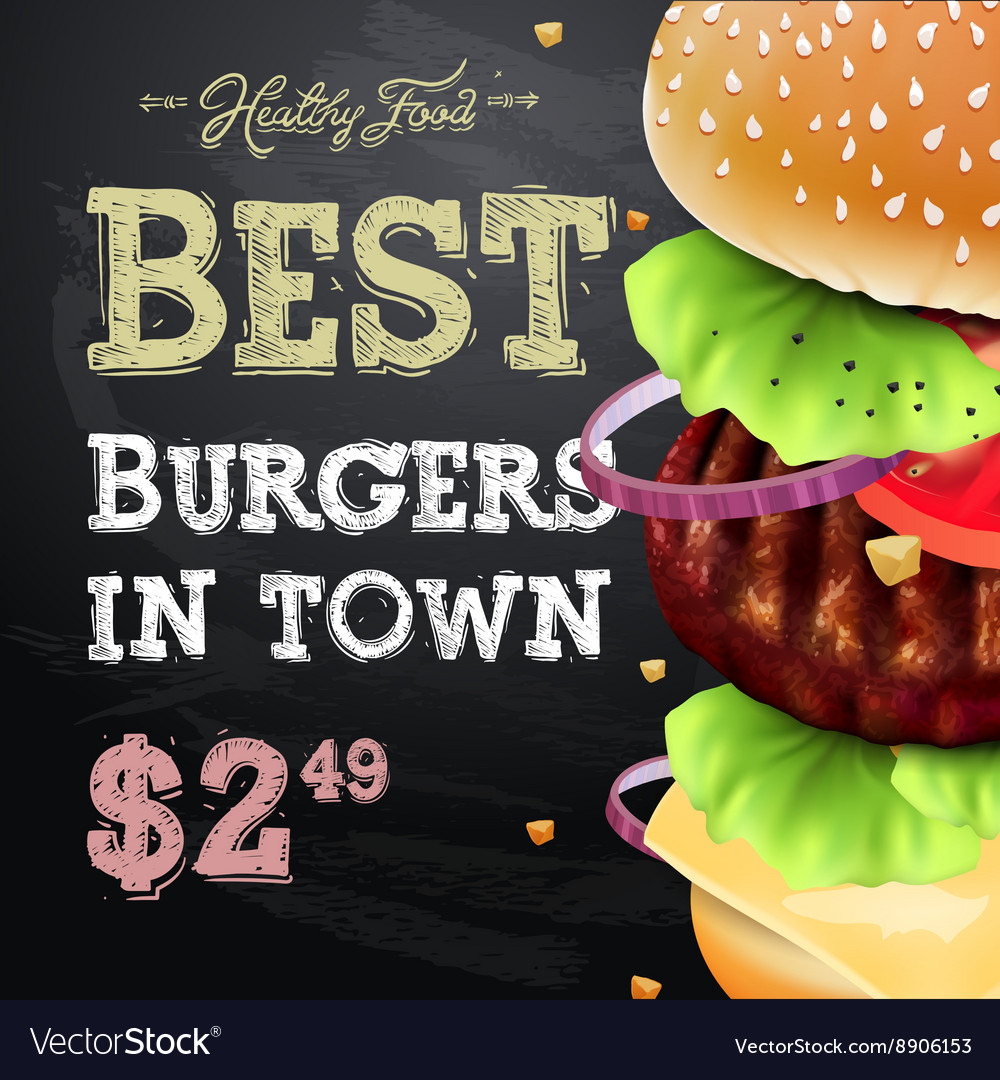 Burger house poster on chalkboard fastfood vector