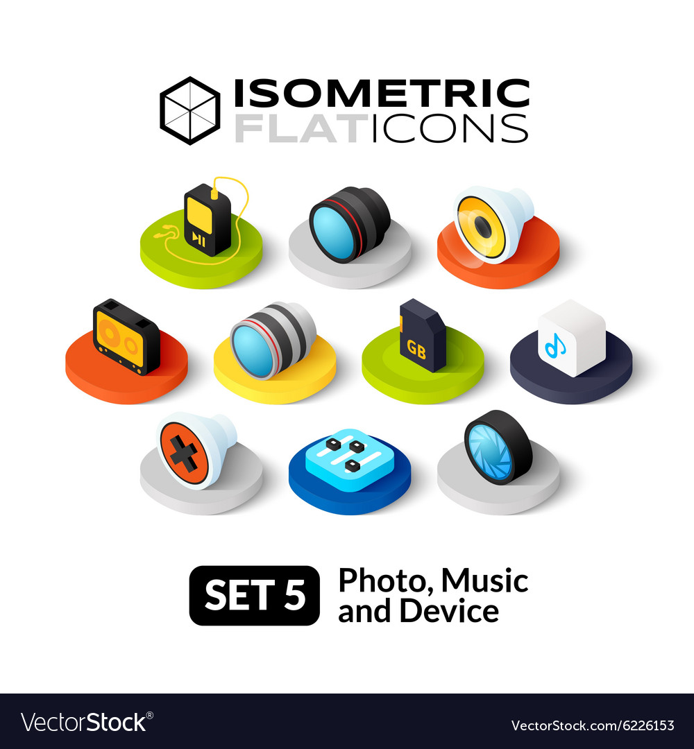 Isometric flat icons set 5 vector