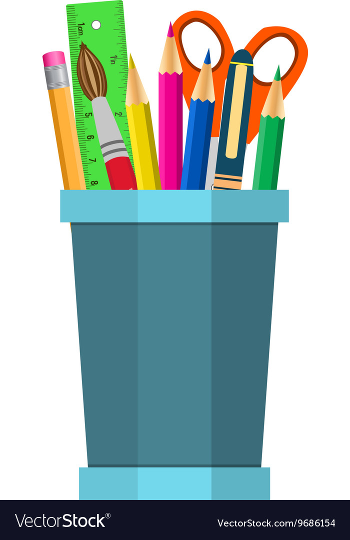 Color pencils in cup vector