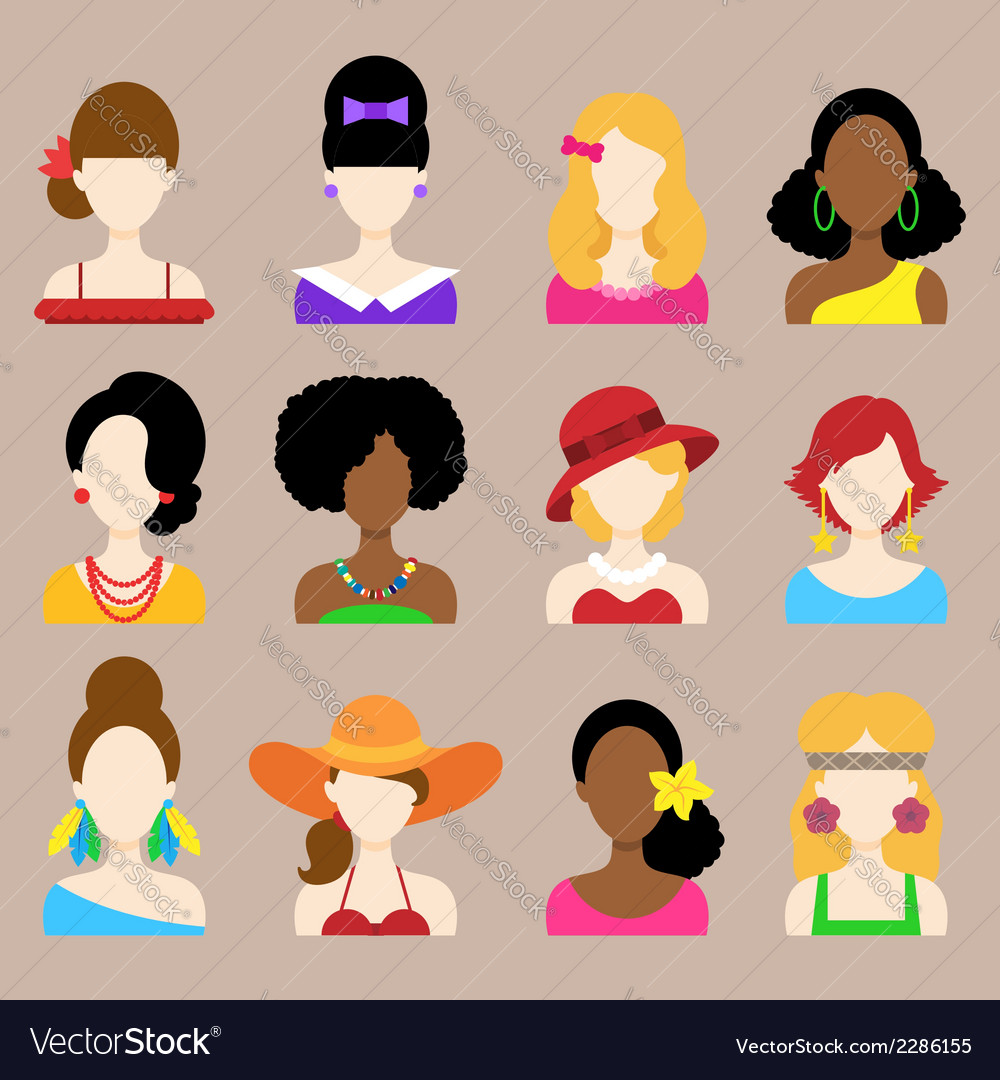 Set of flat icons with women characters vector