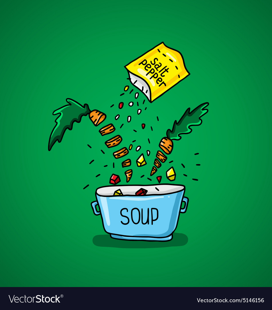 Big pot of soup with spices and vegetables vector
