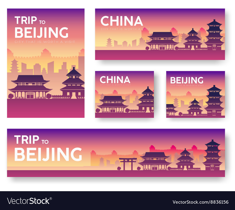 China landscape banners set design vector