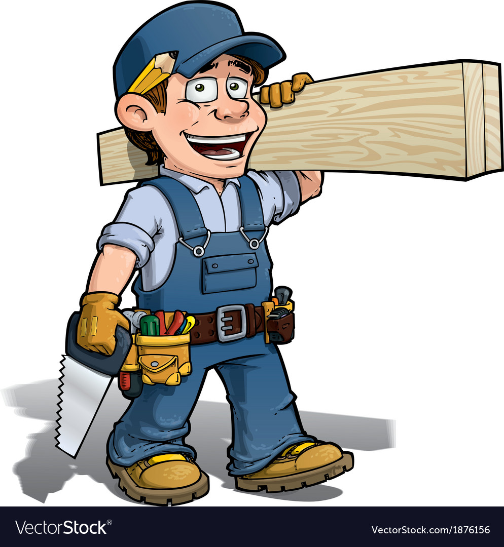 Handyman carpenter blue vector