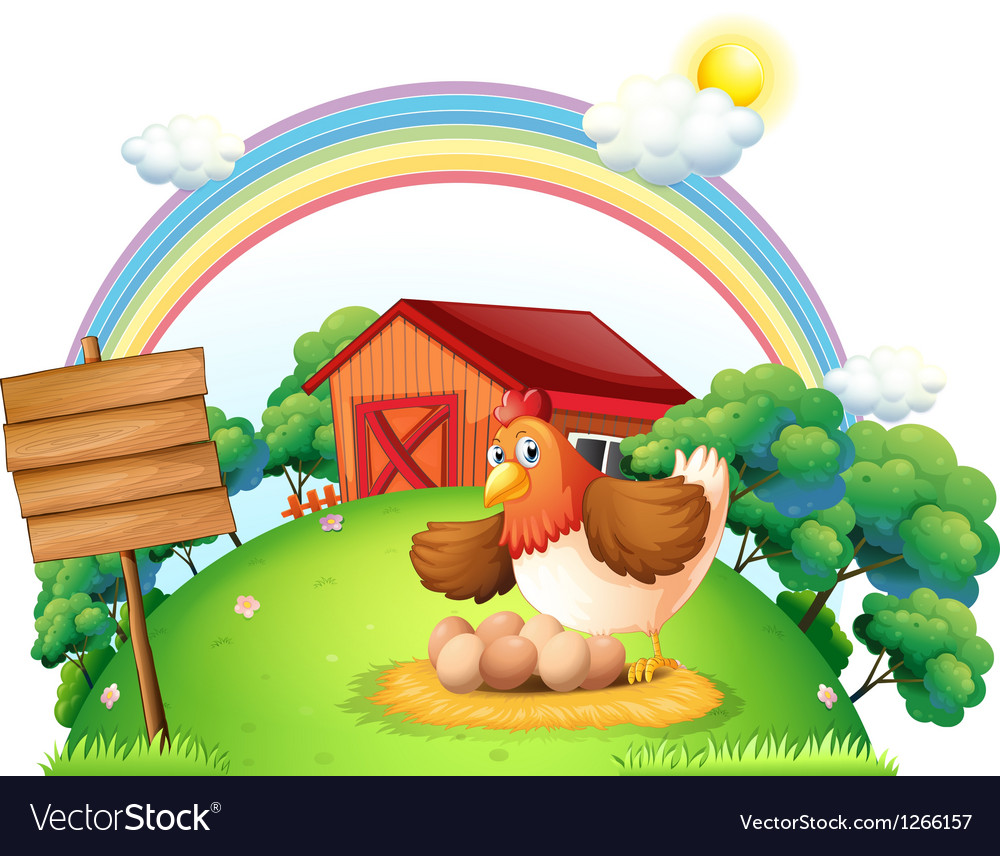 A chicken and her eggs near the empty wooden board vector