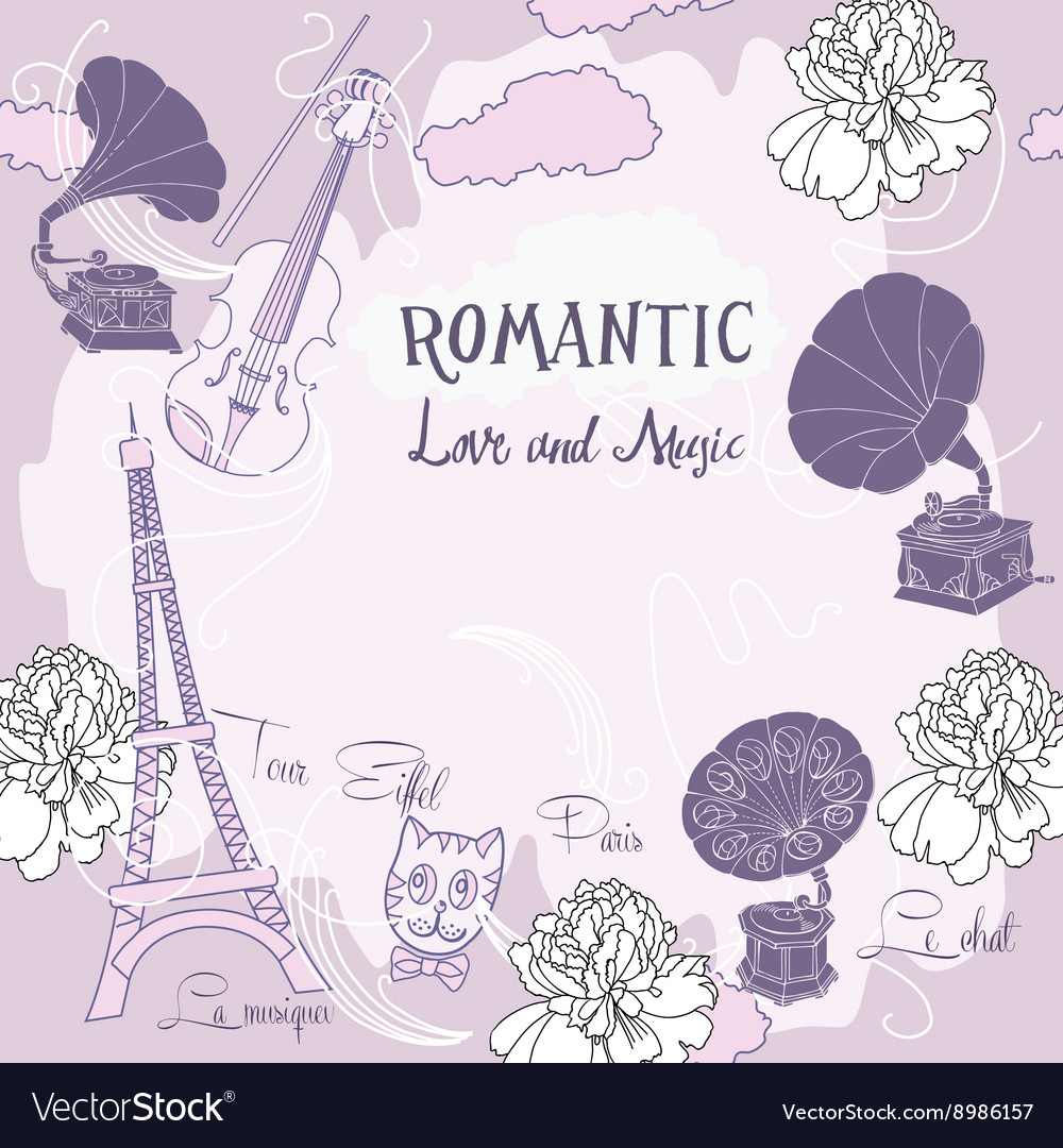Background with paris and gramophones vector