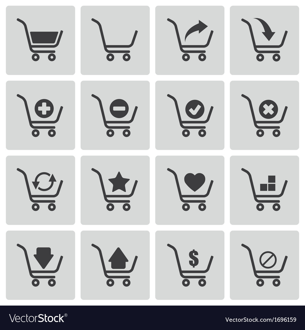 Black shopping cart icons set vector